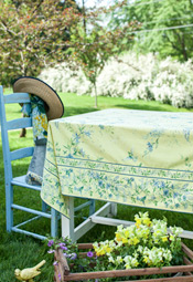 Yellow and Blue Floral Tablecloth